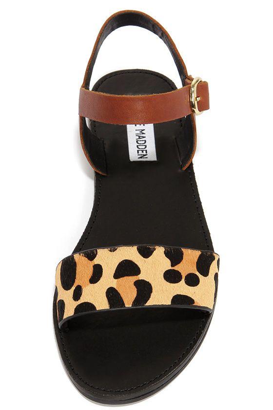 Steve Madden Donddi Leopard Pony Fur Sandals at Lulus.com!