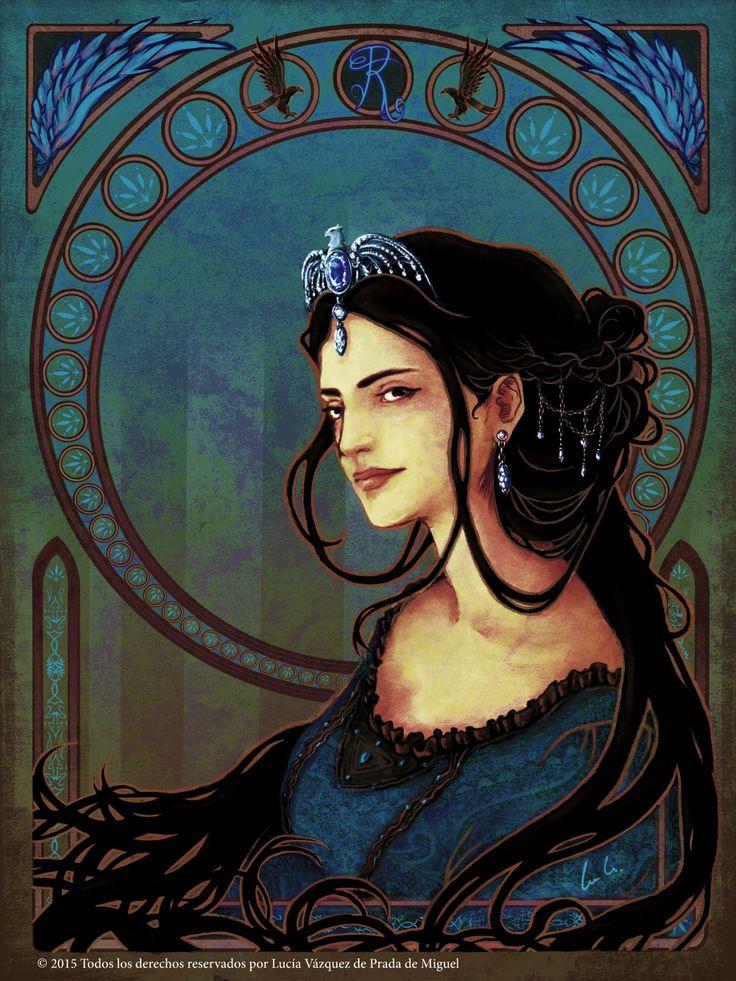 Art Nouveau style Howgarts founders:  Rowena Ravenclaw - Art by Lucia Vazquez de Prada