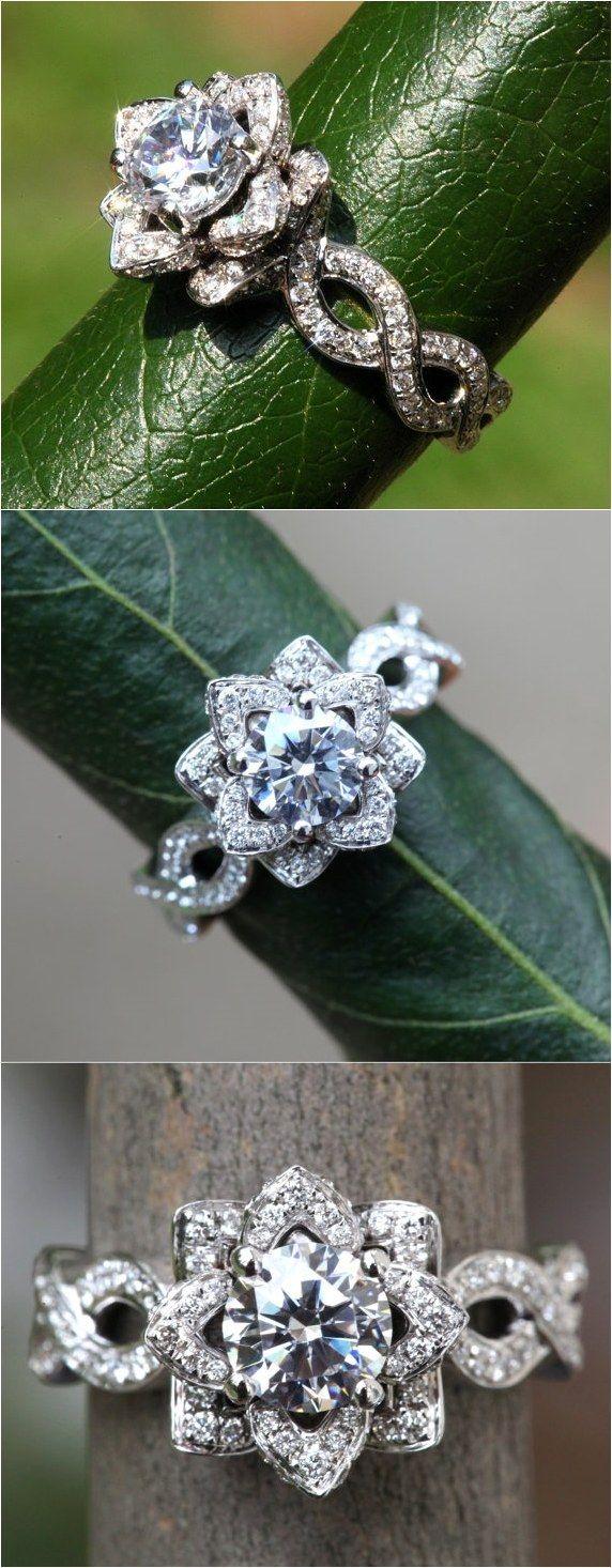 1.50 ct Infinity Diamond Engagement Flower Ring / http://www.deerpearlflowers.com/floral-inspired-engagement-rings/