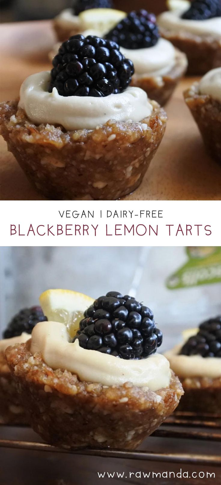 No-bake blackberry lemon cheesecake tarts #raw #vegan #glutenfree www ...