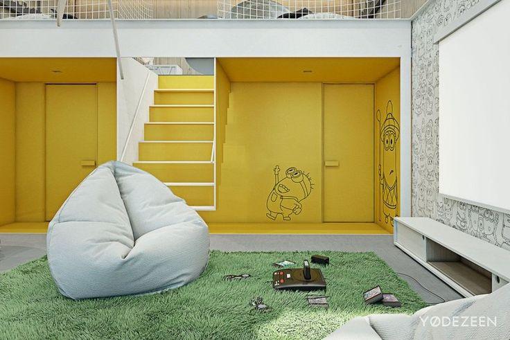 aménagement intérieur tapis imitation gazon et pouf tout confort