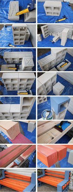 HOME DZINE Garden Ideas | Make your own wood and breeze block bench
