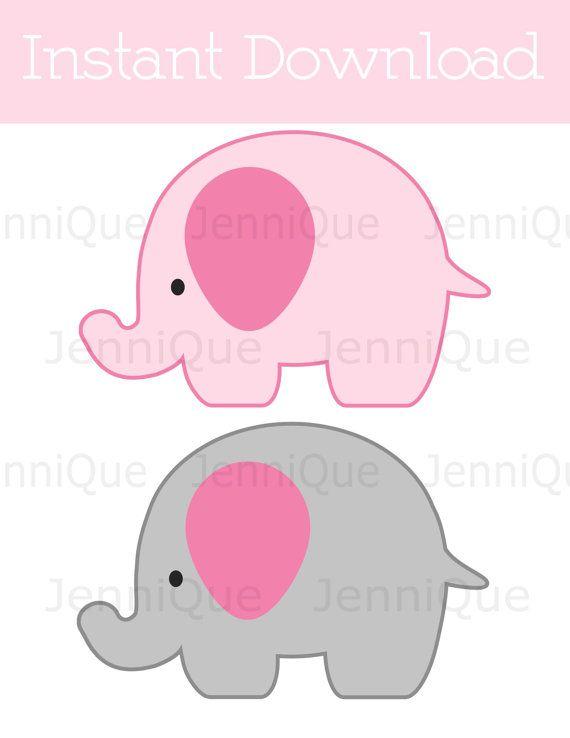 Decoraciones imprimibles elefante elefante por JenniQuePrintShop