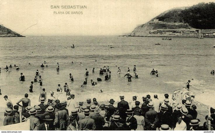 POSTAL DE SAN SEBASTIAN PLAYA DE BAÑOS. #sansebastian #playa #guipuzcoa #postalantigua #paisvasco @postaltrip