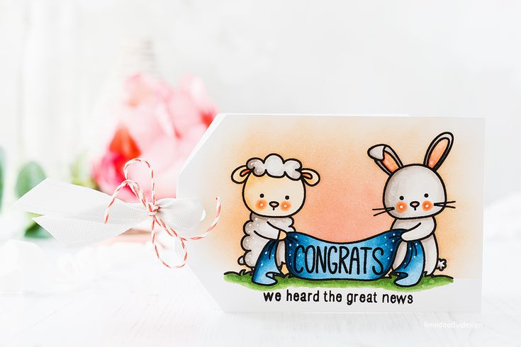 New baby, congrats tag card by Debby Hughes. Find out more about this card by clicking on the following link: http://limedoodledesign.com/2017/04/congrats-tag-card/