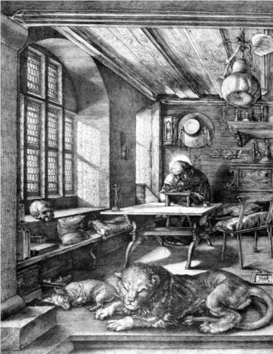 "St. Jerome in his Study - Albrecht Durer.  1514.  Engraving.  9 1/2 x 7 1/4"".  Kupferstichkabinett, Staatliche Museen zu Berlin, Berlin, Germany."