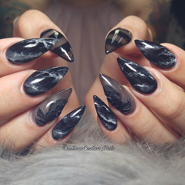 Coffin Nails Marble Designs
