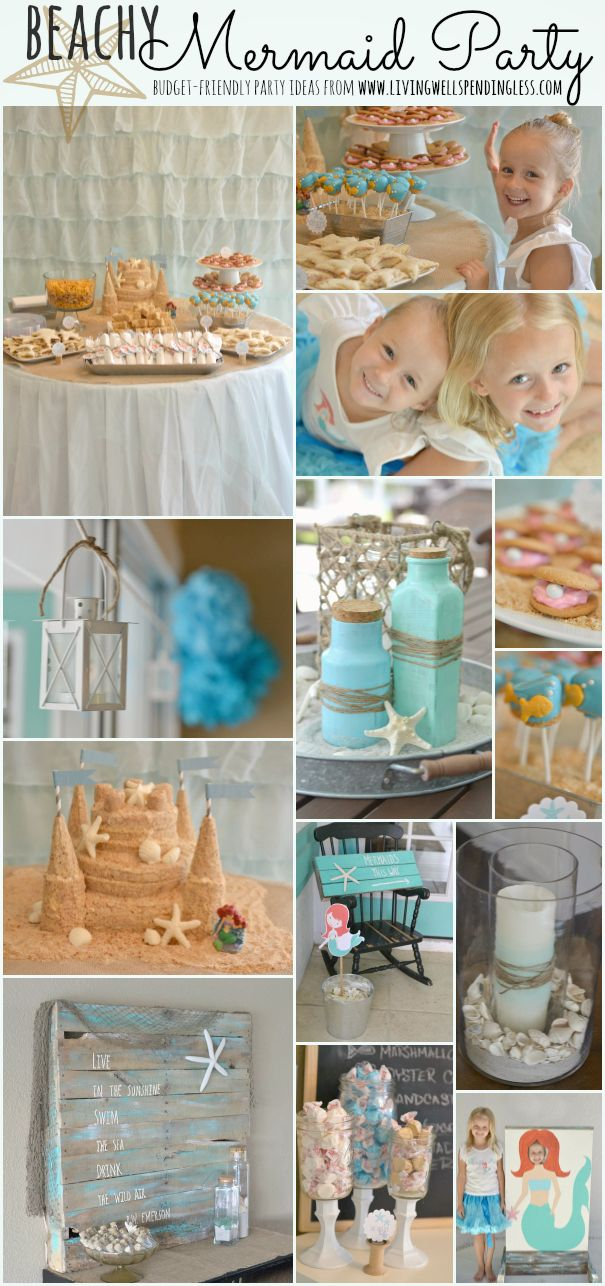 Beachy Mermaid Party--super cute (and budget-friendly) party ideas for a beach or mermaid-themed party! All the food, decorations, & favors for this party were done for less than $200. Amazing!