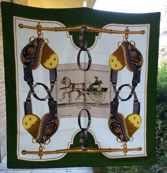 Hermes Paris 90 x 90 scarf green silk genuine by inlove4vintage