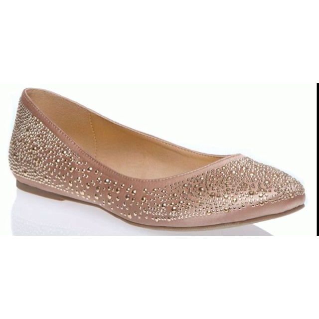 adorable bridesmaid shoe idea! nude with sparkly gold :)