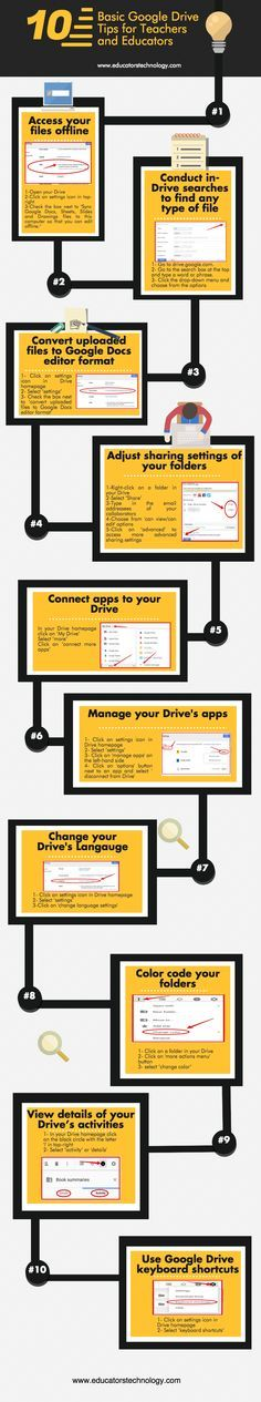 10 Google Drive Tips for Teachers Infographic - http://elearninginfographics.com/10-google-drive-tips-teachers-infographic/