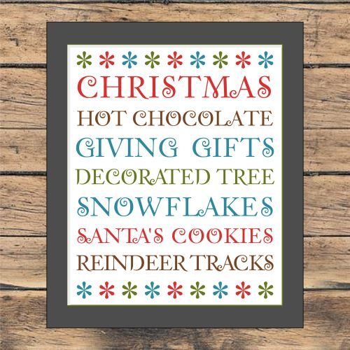 Free Christmas Subway Art printable