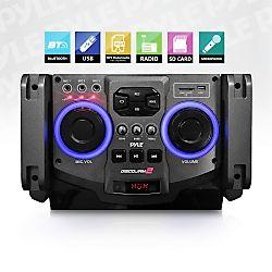 Karaoke Microphone - Pyle (PSUFM1235BT) Bluetooth PA Loudspeaker Karaoke Entertainment System, Active Powered Speaker, Flashing DJ Party Lights, Microphone Recording, MP3/USB/SD, FM Radio, Wireless Mic