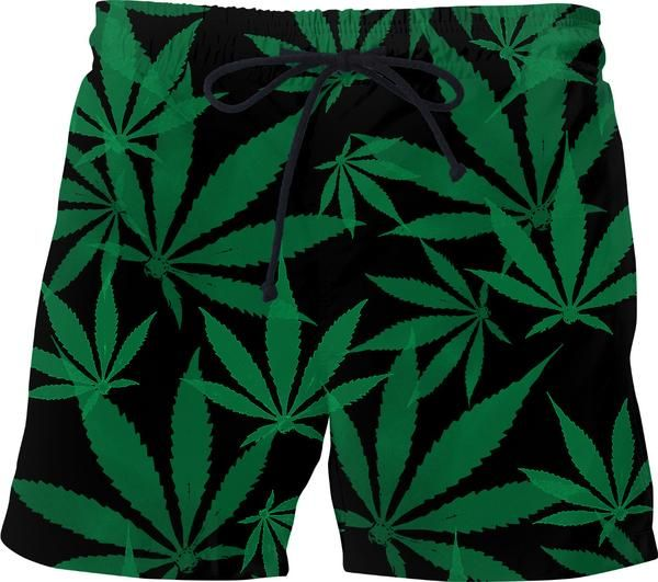 Smoke weed every day! Ganja, cannabis leafs pattern swim shorts, short pants design - item printed by RageOn.com, also available at casemiroarts.com