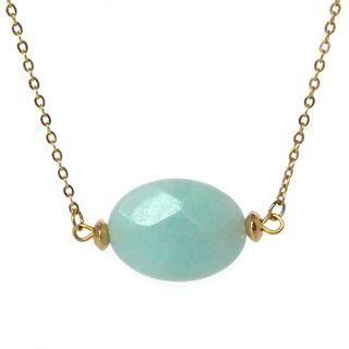 fijn kort gouden verguld kettinkje zeegroen amazoniet half edelsteen sieraden trends musthave