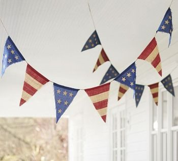 4th of july bannerPotterybarn, Burlap Parties, July Burlap, Fourth Of July, Burlap Banners, 4Th Of July, Parties Banners, Patriots Parties, Pottery Barns