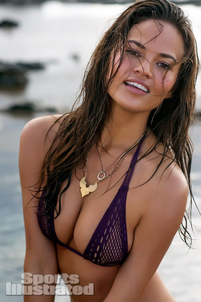 Chrissy Teigen was photographed by David Burton in   Easter Island, Chile. Swimsuit by Nippies Swim for Bristols 6.