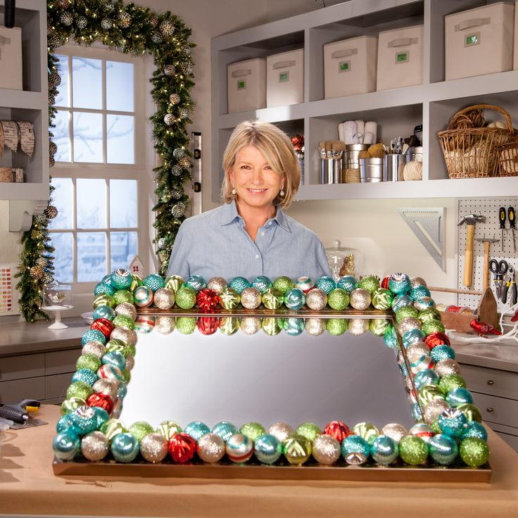 Martha explains how easy it is to embellish a mirror with ornaments so you can add a festive touch anywhere in your home.