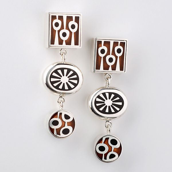 Triple Drop Earrings by Victoria Varga: Silver and Copper Earrings available at www.artfulhome.com