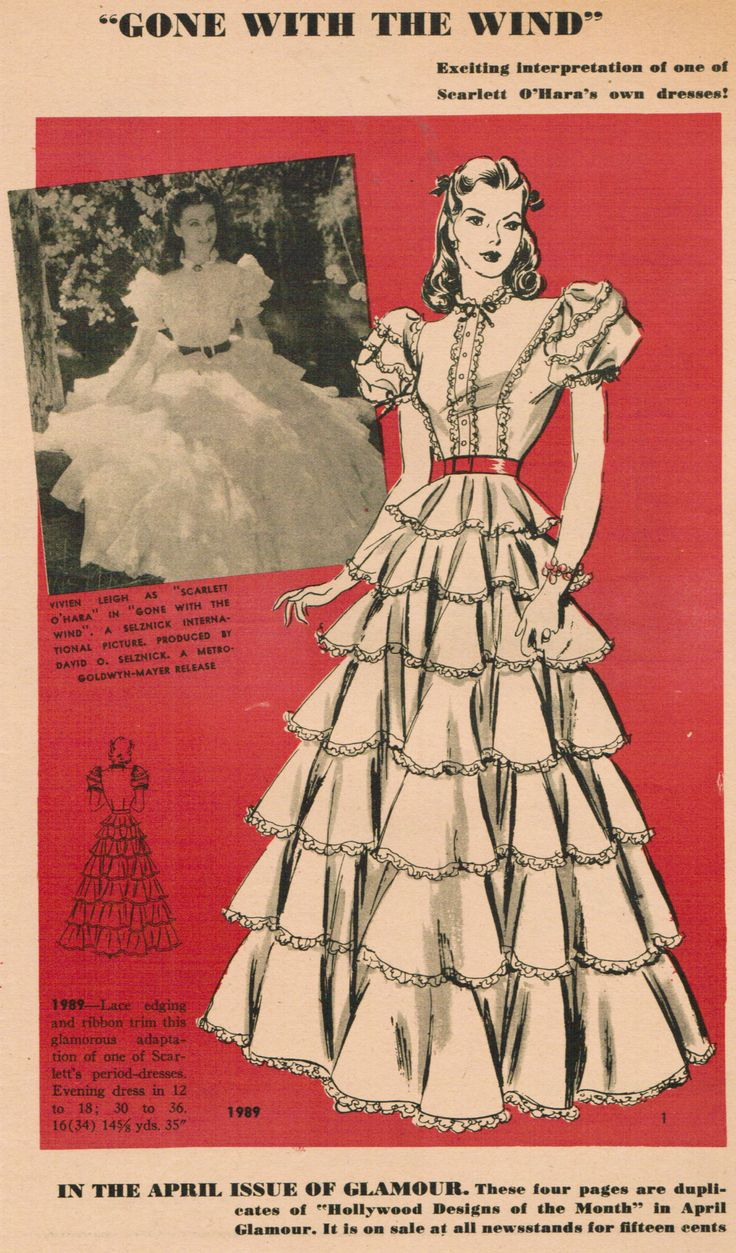 Hollywood 1989, from 1940. Based on Scarlett O'Hara's barbecue dress in the movie Gone With the Wind. Vintage Fashion Librarian