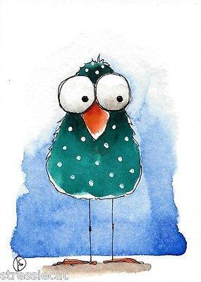 ACEO-Original-watercolor-whimsical-painting-folk-art-illustration-green-bird