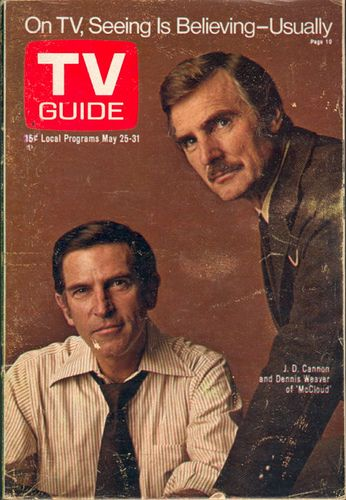 TV Guide, Dennis Weaver as McCloud, McCloud, tough guy, wild, cowboy, detective, history, tv series, loved him.