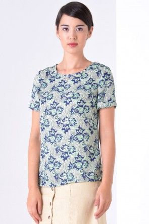 Judith Paisley Print Top in Navy