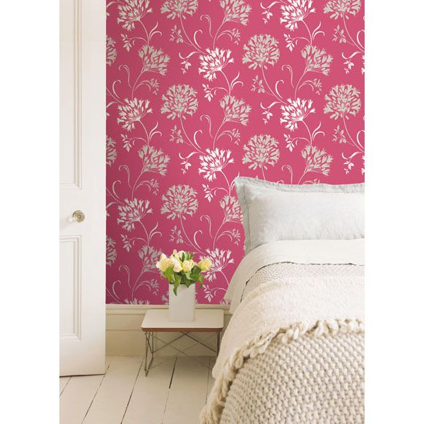 nerida floral silhouette wallpaper in pink design by brewster home fas