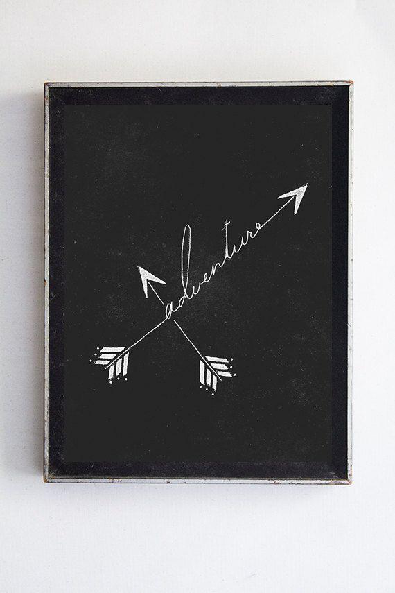 Adventure, fine art print // arrow print // art // wall decor // illustration // typography // home decor // calligraphy // arrow decor