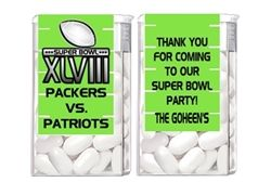 Personalized Football Superbowl Super Bowl Party Favors.  Tic tac wrappers labels.  Fun, unique inexpensive football themed party favor idea.  Team names can be changed. 49ers,  Bears,  Bengals,  Bills,  Broncos,  Browns,  Bucaneers,  Cardinals,  Chargers,  Cheifs,  Colts,  Cowboys,  Dolphins,  Eagles,  Falcons,  Giants,  Jaguars,  Jets,  Lions,  Packers,  Panthers,  Patriots,  Raiders,  Rams,  Ravens,  Redskins,  Saints,  Seahawks,  Steelers,  Texans,  Titans,  Vikings
