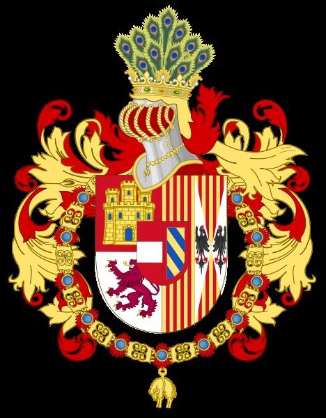 Coat of Arms of John of Austria / Escudo de armas de Juan de Austria Escudo partido: 1, Cortado de Castilla y León; 2, partido de Aragón y Aragón-Sicilia; sobre el todo [escusón] partido de Austria y Borgoña Antiguo; timbrado de yelmo, cimera de corona con diademas y globo, y de plumas de pavo real característica de Austria