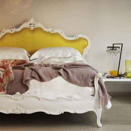 How fun to have a yellow headboard!Colors Combos, Romantic Bedrooms, Dreams Beds, Beds Room, Head Boards, Beds Frames, Upholstered Headboards, Mustardyellow, Mustard Yellow