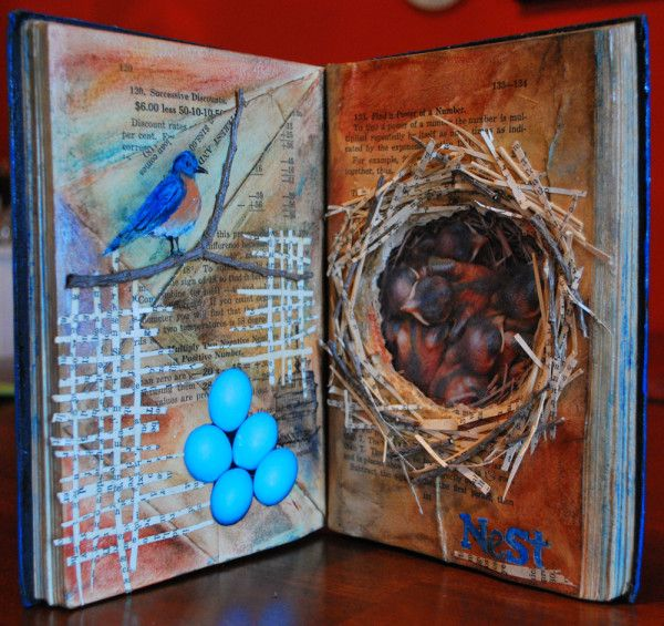 Bird and nest, beautiful altered book, collage