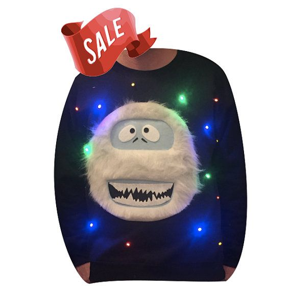 Ugly Christmas Sweater LIGHTS UP  Abominable by TipitDesigns