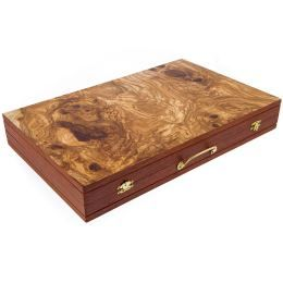 Handmade Olive Wood Backgammon Board Wooden Game Set, Vintage Style Metal Handle, Slots Storage, Large