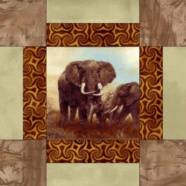 ELEPHANT DAWN Pre Cut Quilt Blocks Kit
