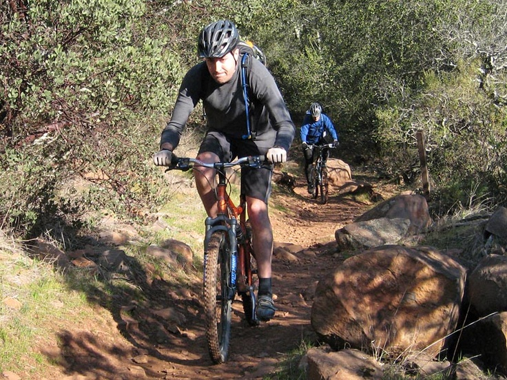 Mountain biking at Annadel State Park in California...
