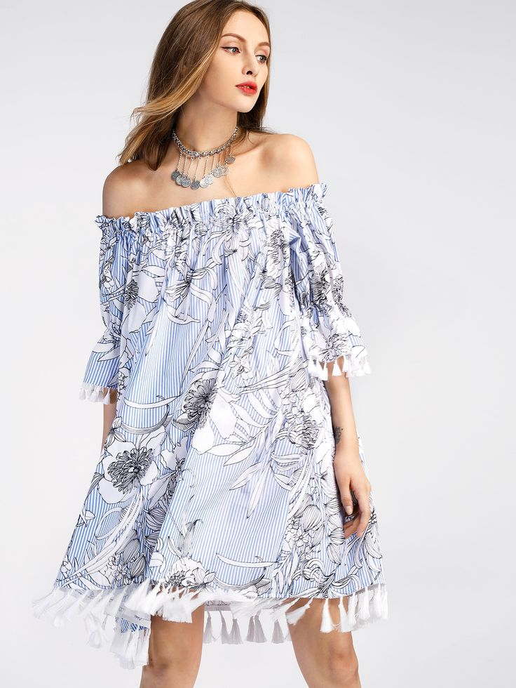 Shop Bardot Frill Cuff Tassel Trim Vertical Striped Dress online. SheIn offers Bardot Frill Cuff Tassel Trim Vertical Striped Dress & more to fit your fashionable needs.