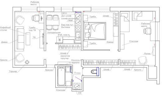 Квартира 74 кв.м. в скандинавском стиле в г. Нерюнгри. Планировки