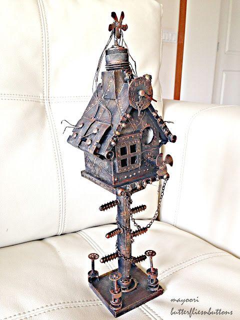 Butterflies N' Buttons: Altered bird house-steampunk