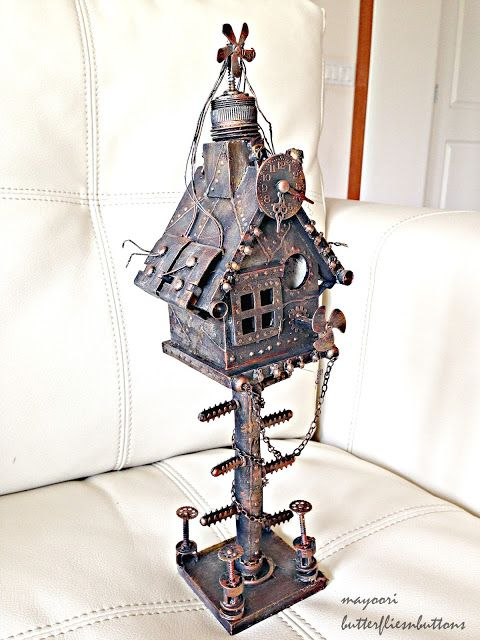 Butterflies N' Buttons: Altered bird house-steampunk