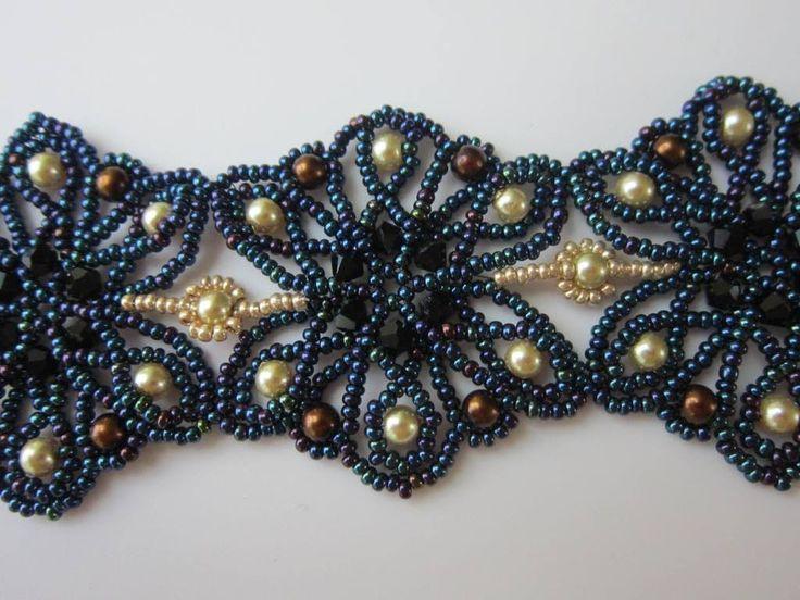 """Beaded Bracelet """"Summer Night"""" . Бисерный браслет """"Летняя Ночь"""""""