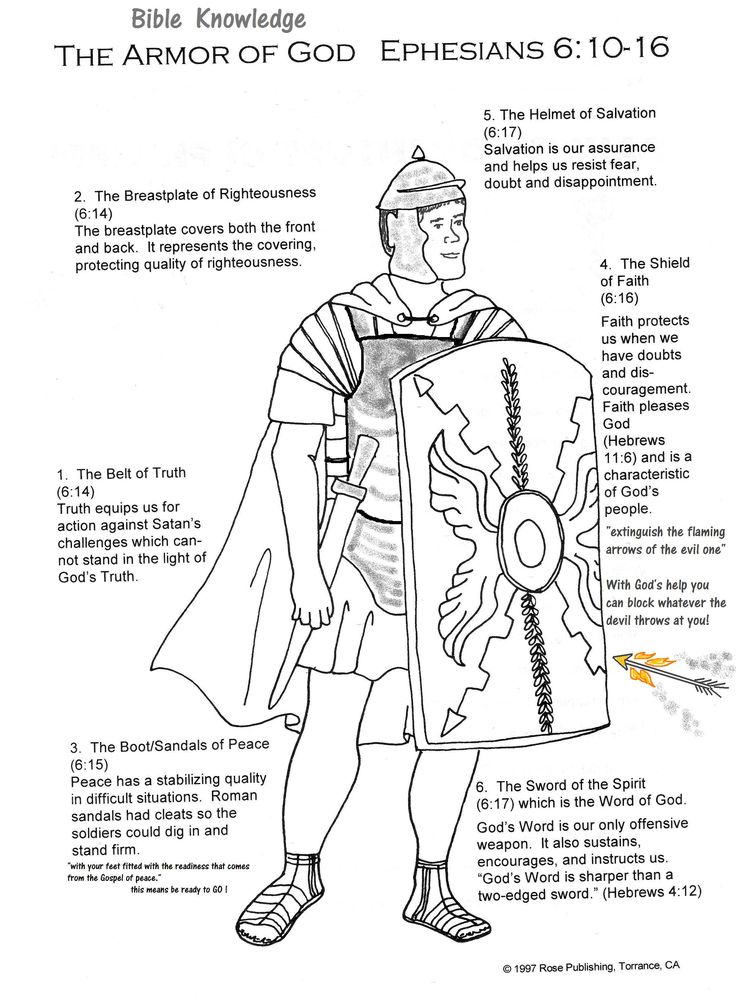 Full Armor Of God Handout Vbs Lesson Handouts Charts
