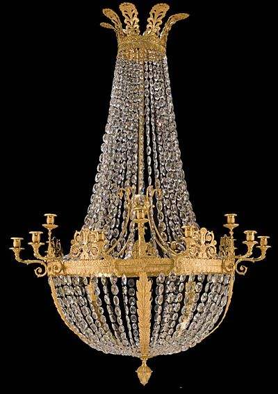 Fine French Empire Style Bronze d'Ore And Crystal Chandelier With Fifteen Arms    c. 2nd Half Of The 19th Century