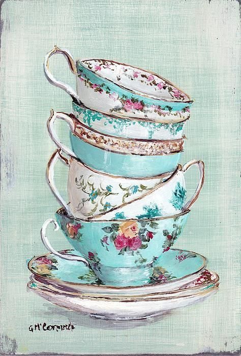 Stacked Aqua Themed Tea Cups Poster By Gail Mccormack: