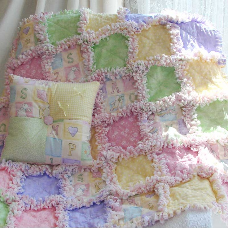 ABC Pastel Baby Rag Quilt. Love the soft colors.