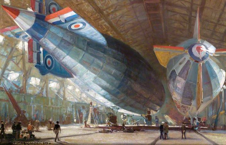 R.34 and R.29 in the Shed at East Fortune, by Alfred Egerton Cooper, painted 1919.