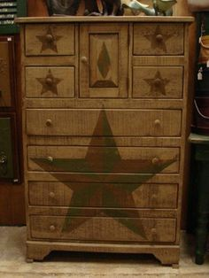 Amish Primitive Chest Of Drawers Stars - traditional - dressers chests and bedroom armoires - Dutch Crafters #BedroomArmoires