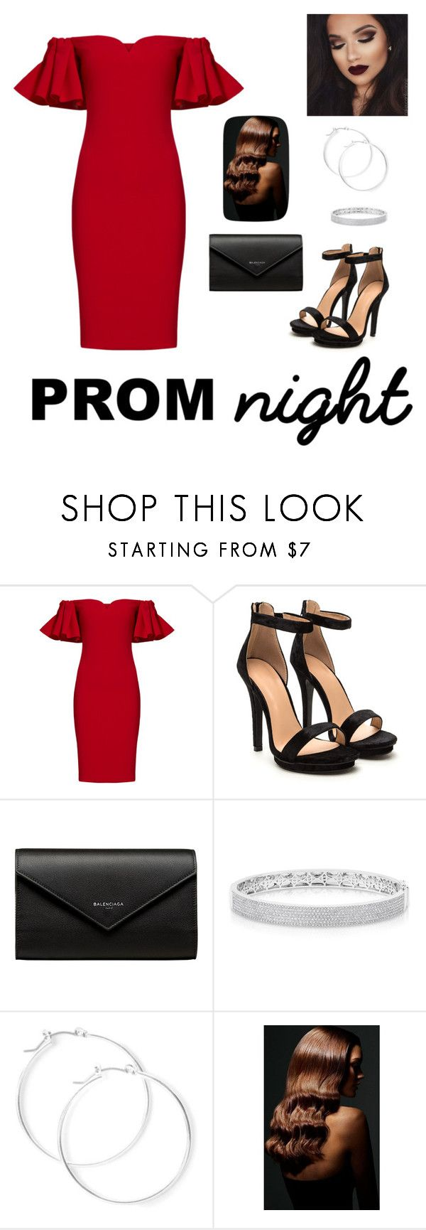 """PROM night"" by natalyholly on Polyvore featuring Badgley Mischka, Balenciaga, Anne Sisteron, claire's and BaByliss"