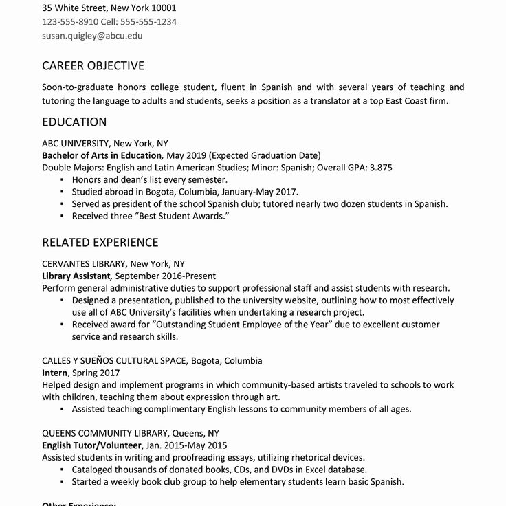 resume objective examples for college student